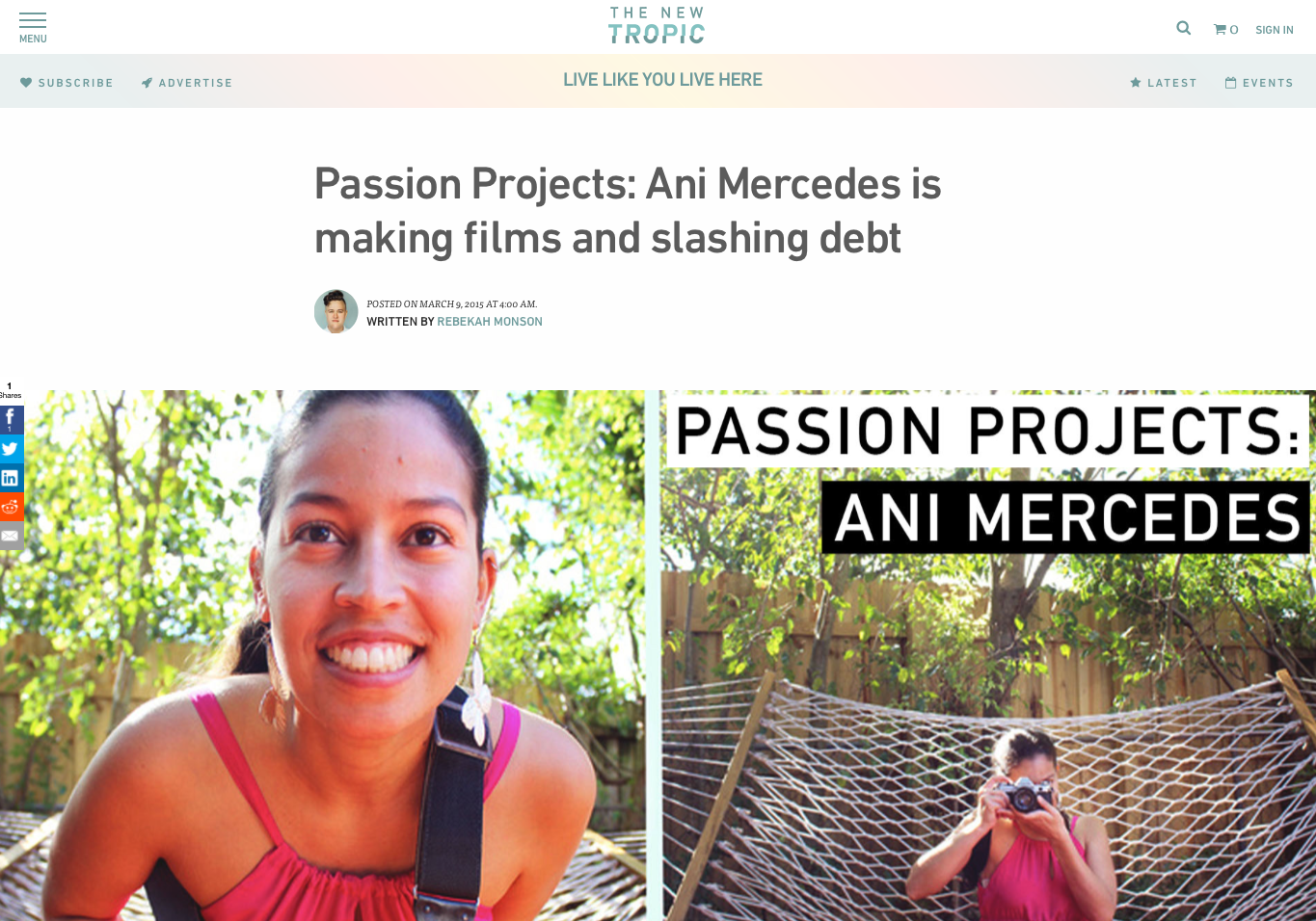 Ani Mercedes: Passion Projects  The New Tropic
