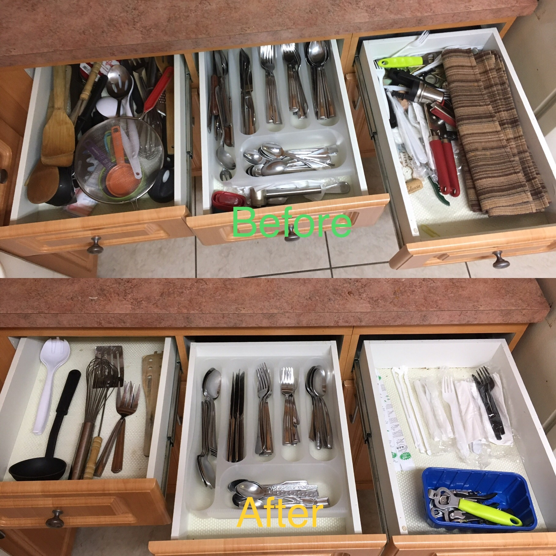 We also now have a completely  empty  drawer in our kitchen (not pictured). Yes, a drawer with nothing! We just don't have anything to put in it. And it actually used to be our junk drawer. Ha! But it makes sense, get rid of junk and you'll have more space. :)