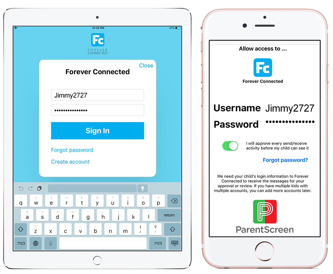 login to the optional parentscreen app with your child's login credentials