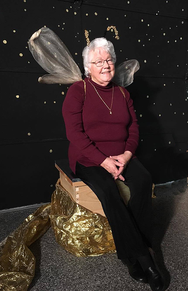Lady Spirit Moon at our holiday party! She was not available for the original photo shoot, so Leonora Stefanile (a former student) put on the wings for BEe Healing Guild.
