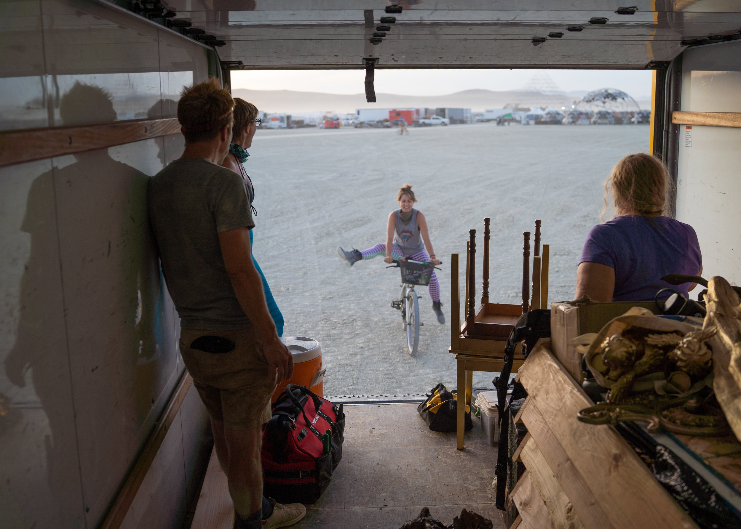 Upon arrival to our camp we were immediately jumping in on the work camp set up. Before we even had time to put together our own tent we were jumping into the work truck and headed out onto the playa for the first night of build.