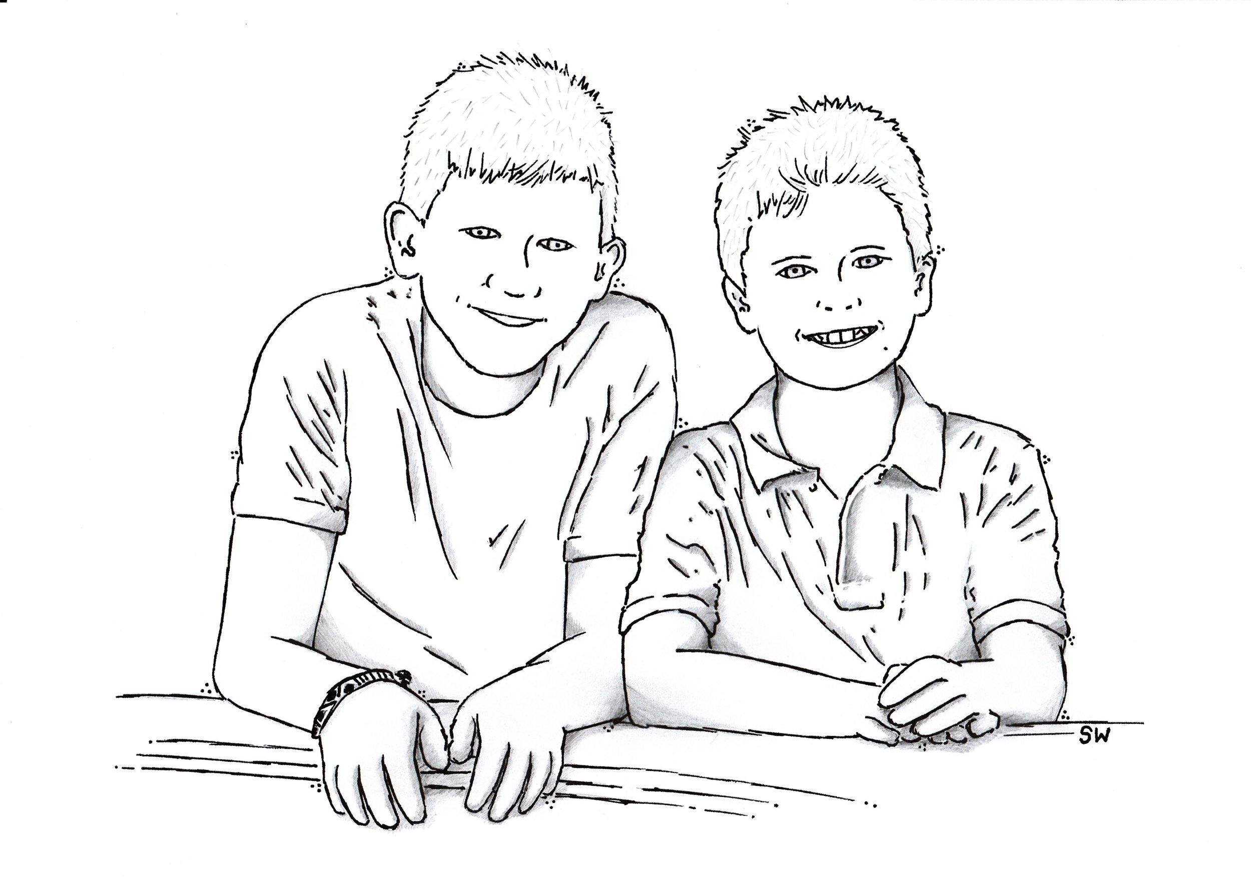'Portrait' cartoon by Sid Wright sidwright.co.uk