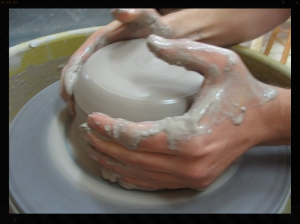 Throwing on the potter's wheel