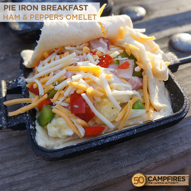 Pie Iron Breakfast: Ham Omelet