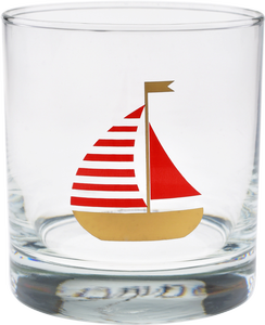 CULVER: 11 oz Old Fashion - Red Sailboat