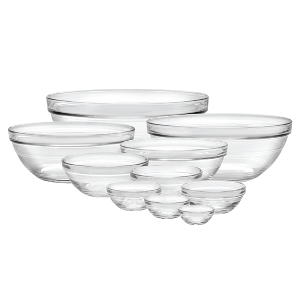 Duralex Lys Stackable Clear Bowl, 10-piece set