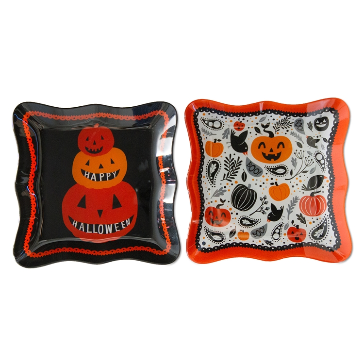 TAG: halloween glass plates assortment of 2
