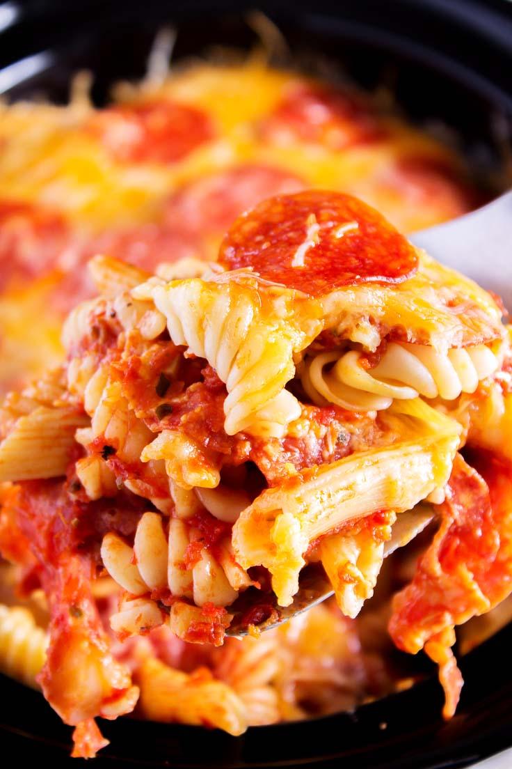 CROCK POT PEPPERONI PIZZA CASSEROLE