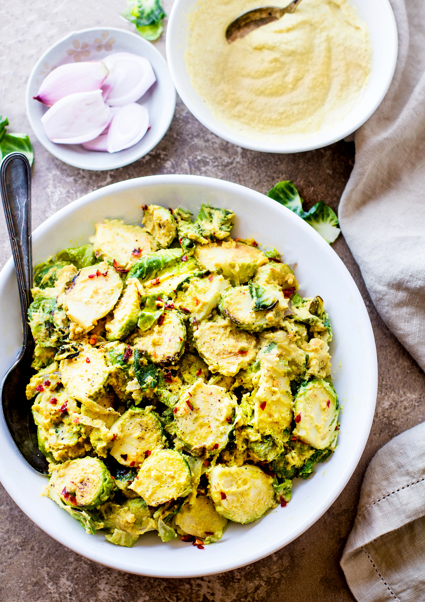 CREAMY MUSTARD BRUSSELS SPROUTS SUPERFOOD SALAD