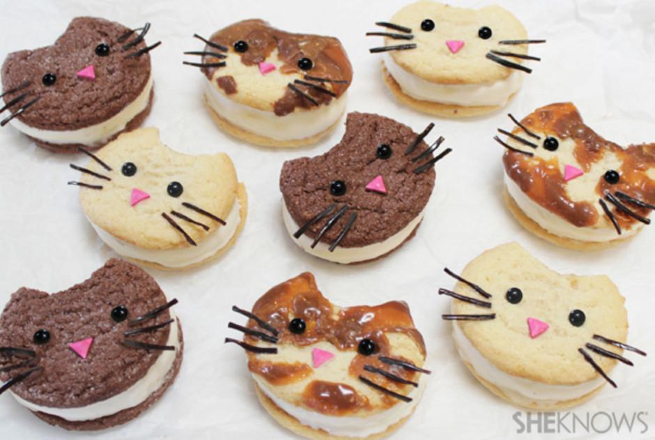 Kitty cat ice cream sandwich faces