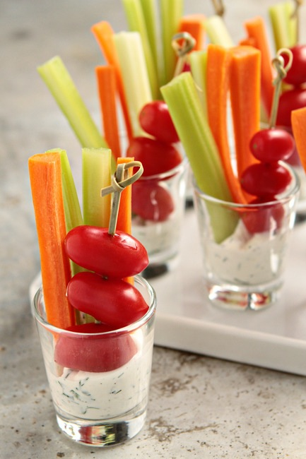 Carrots, Celery, and Tomato with Homemade Dip