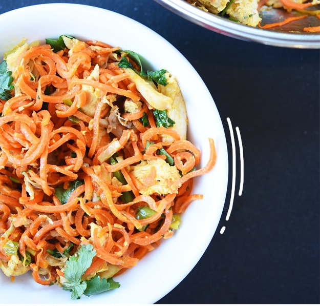 Carrot Noodles with Chicken & Peanut Sauce