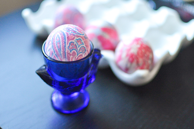 Egg dyeing with old neck ties!