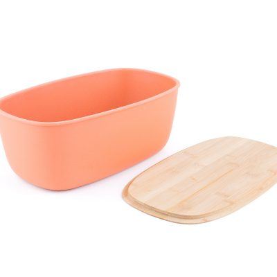 Bamboo fiber Large Bread Bin with Reversible lid -Peach Bin