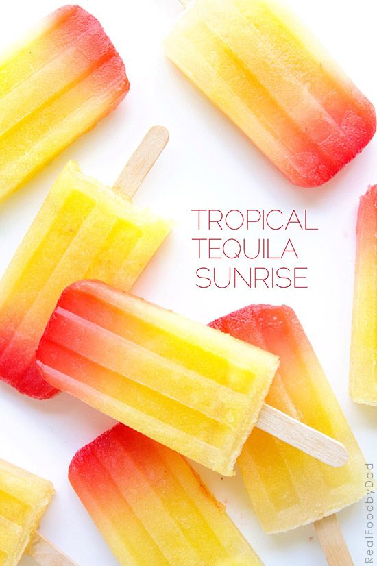Tropical Tequila Sunrise Popsicles