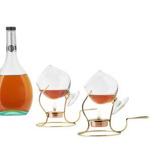 Old Dutch Intl: Brandy Warmers with Tea Light & Glass Snifter, 2 Piece Set