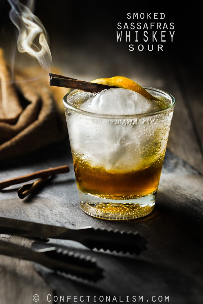 Smoked Sassafras Whiskey Sour