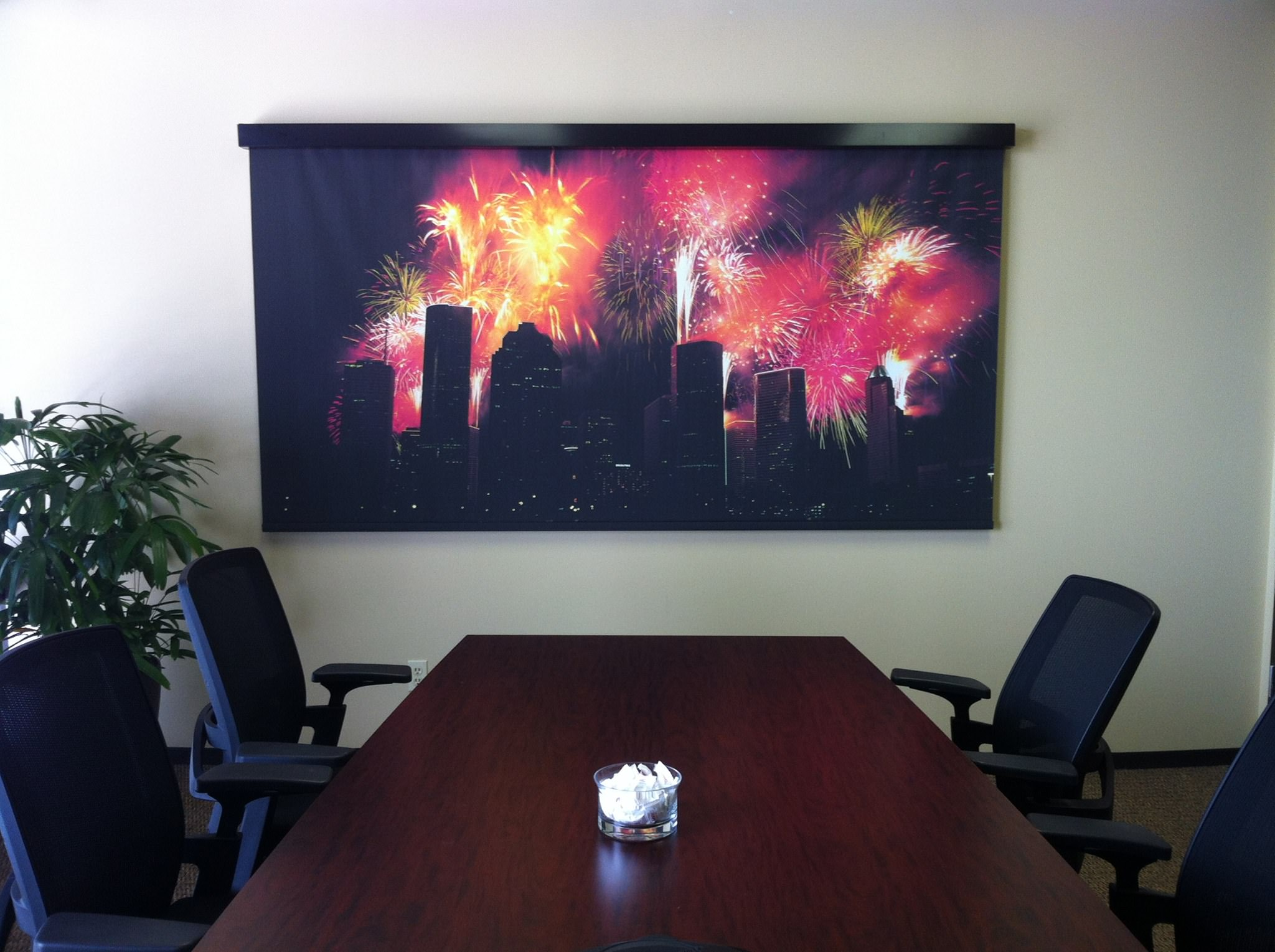 Custom printed window shade in conference room. This shade was specifically used to cover a whiteboard while not in use.