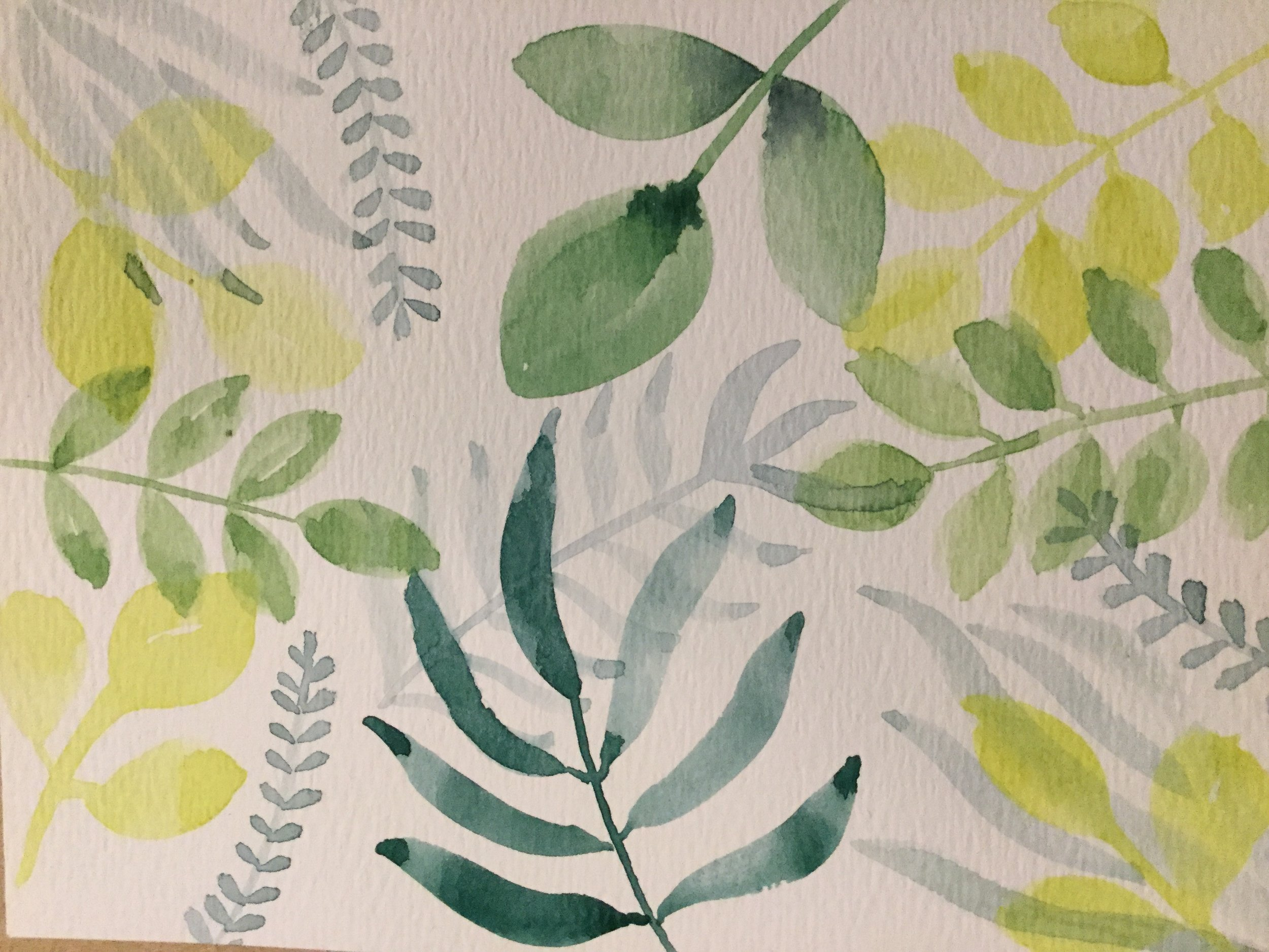 playing with watercolor leaves