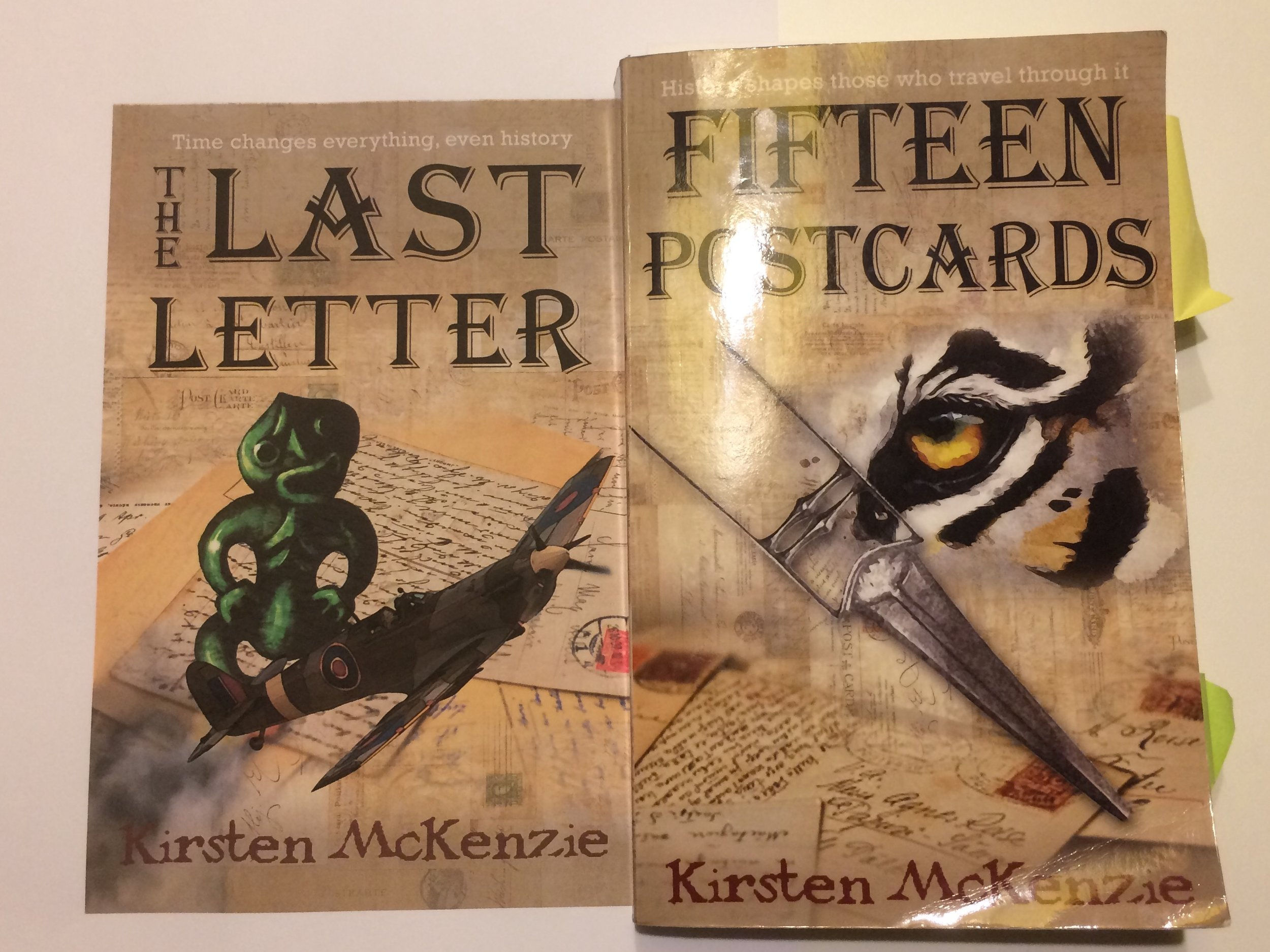 Comparison of draft cover #3 and the final cover of Fifteen Postcards. Note the placement of the author name.