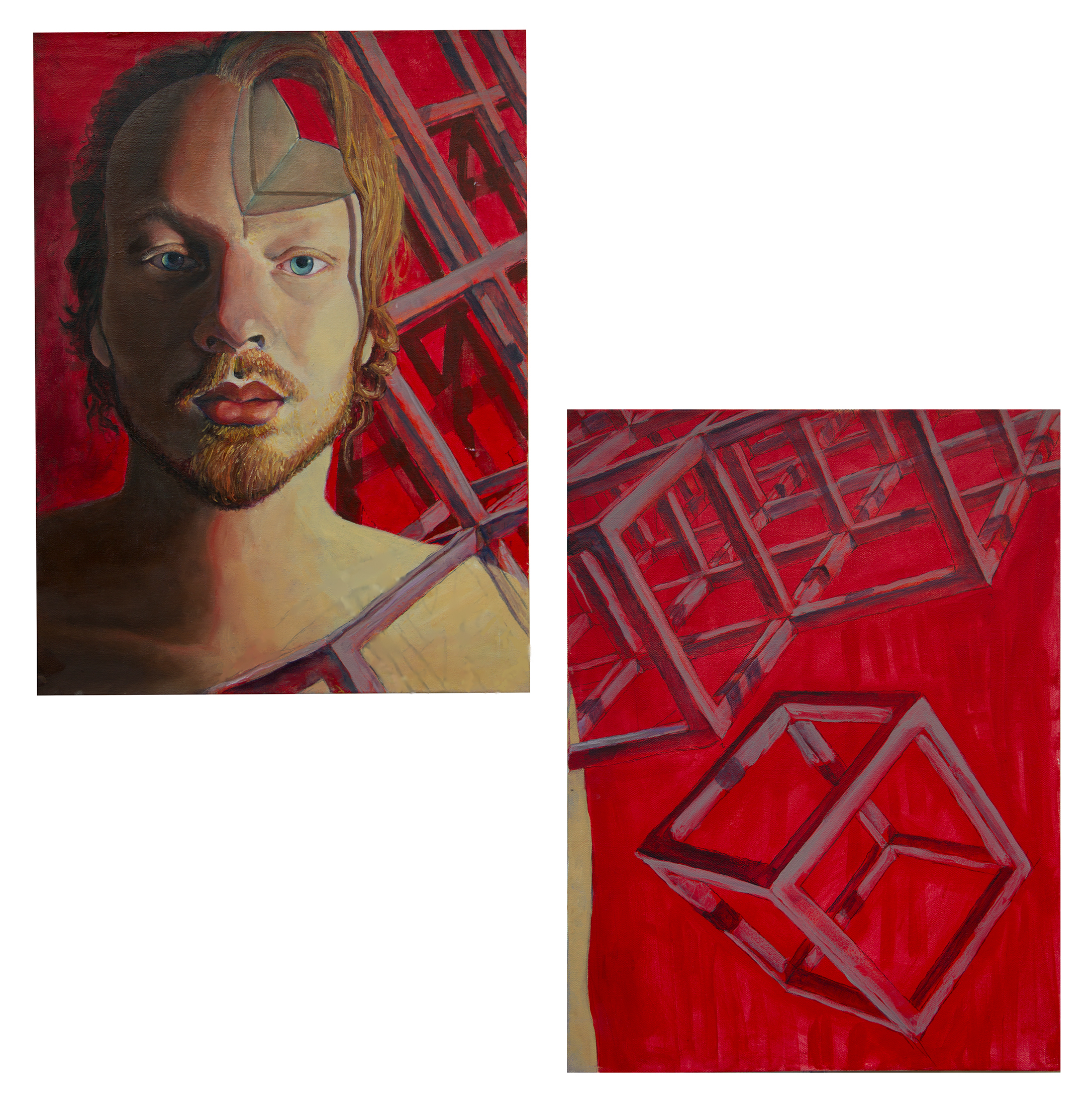 "Untitled - It has been said that all artworks are, in one way or another a form of self portrait (even if the finish piece looks like the generic version of white Jesus). I personally think that painting is a ""challengy"" channel to work with when attempting to articulate an idea. But because painting is what I do, maybe because I enjoy the process or perhaps because I am not creative enough, I humbly attempted to conceive this piece inspired by the anxiety and stress that comes from spending long hours shifts behind a dammed computer; the feeling of having my awesomeness and creativity mutilated by the rigid structures of a scheduled life, the office routine, and all of those things that often hinder my the beauty of life, happening every second right in front of me. But today, biking back home after the opening night, the informal artist talk, the small gathering and the glass of wine, I felt so fulfilled, because I realize that in the middle of the system jungle I have managed to survive. I realize that is precisely my awareness of the box what always permit me to find the way out of it. Today, high on happiness, I realized that I have succeeded already, because there has not been a single day I regret I took this path. In fact the many moments when things got a little harsh and tight only served as catalyzes for me to act more ""stubbornly""… I could respect those people who are happy having an ordinary life, I would admire those who are able to find extraordinary things within the ordinary, but I feel deeply sorry for those who resign themselves to the box like world and and fail to protect their convictions. Because there is nothing more rewarding to be what you always wanted to be, and I have always wanted to be an artist. (Tex written on : Feb - 02 - 2016)"