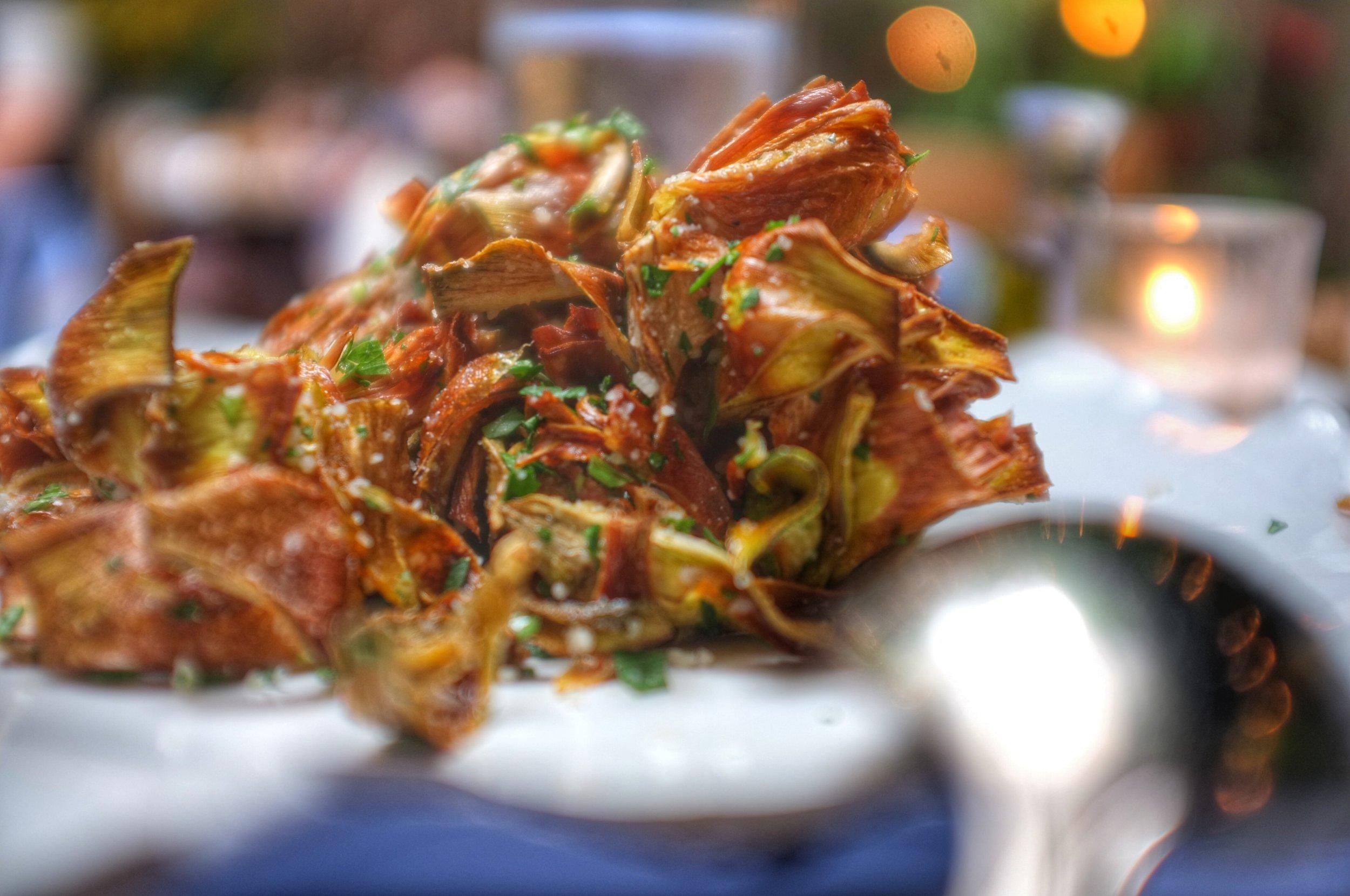 Carciofi Croccanti  - Crispy baby artichoke hearts with parmigiano and parsley