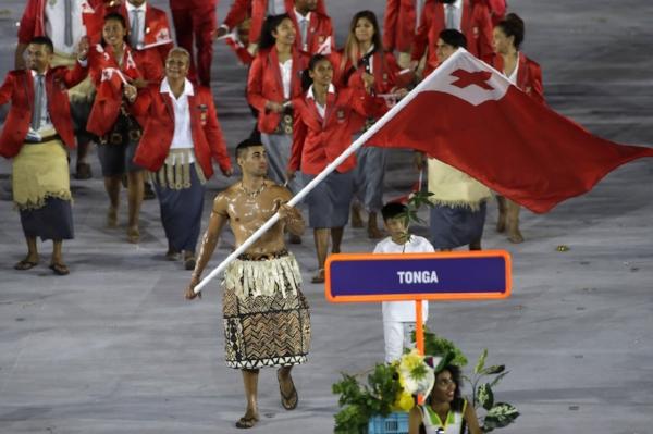 Pita Tafatofua represents his country.
