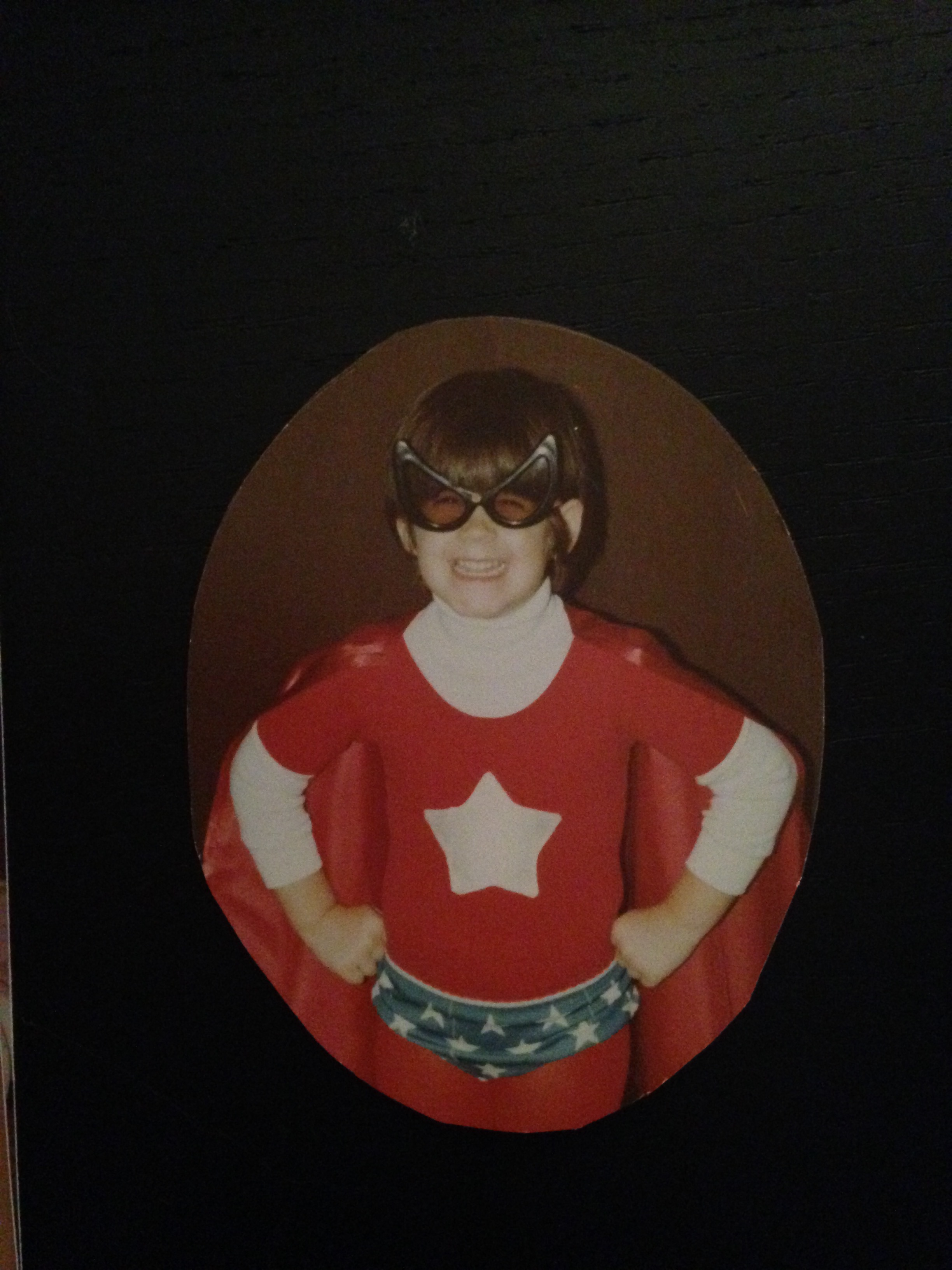 The author as a superheroine of her own choosing: Star-Woman. (Using Spider-Man glasses, and Wonder Woman panties.) Circa 1985.