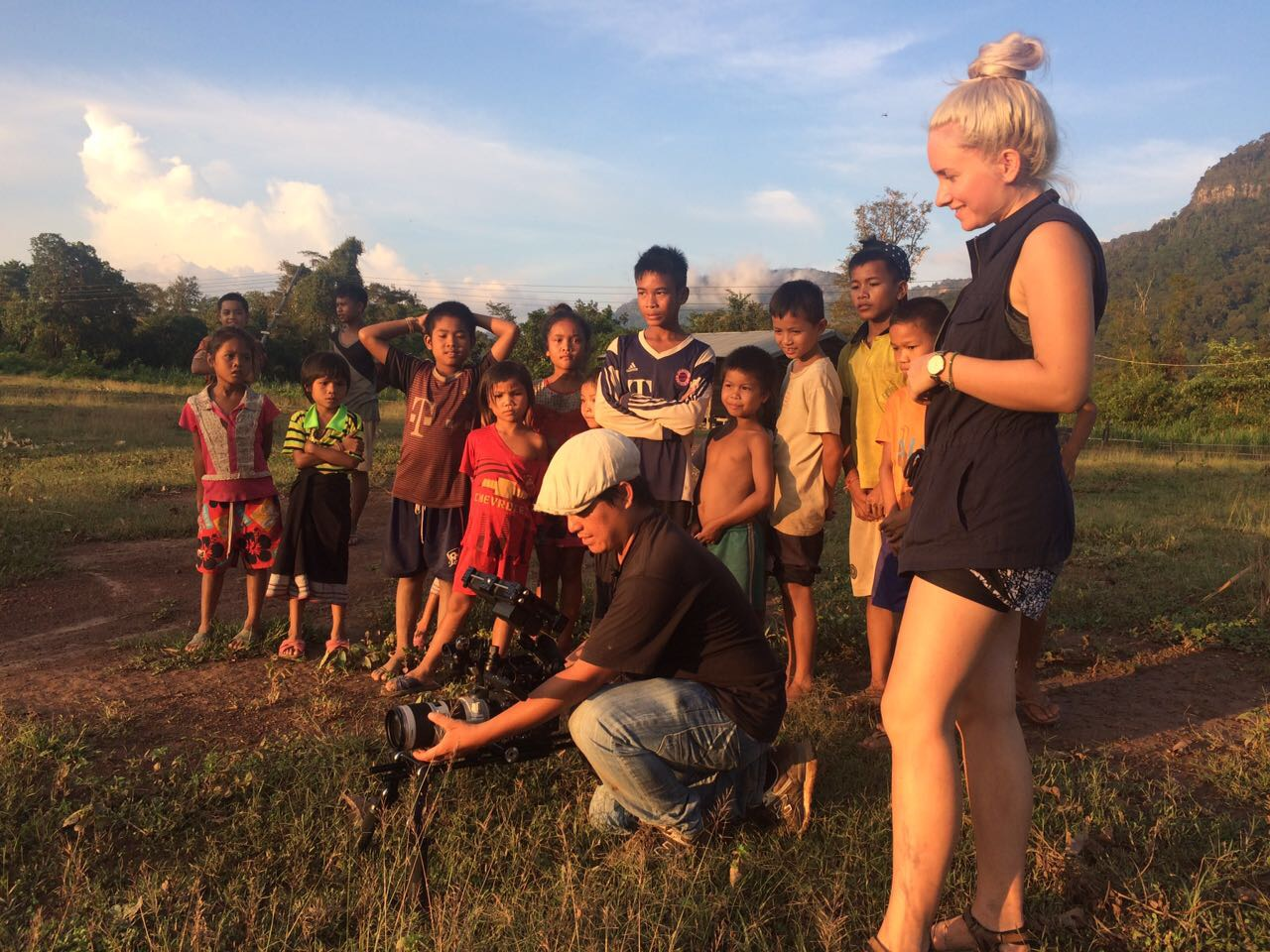 on set in Laos -