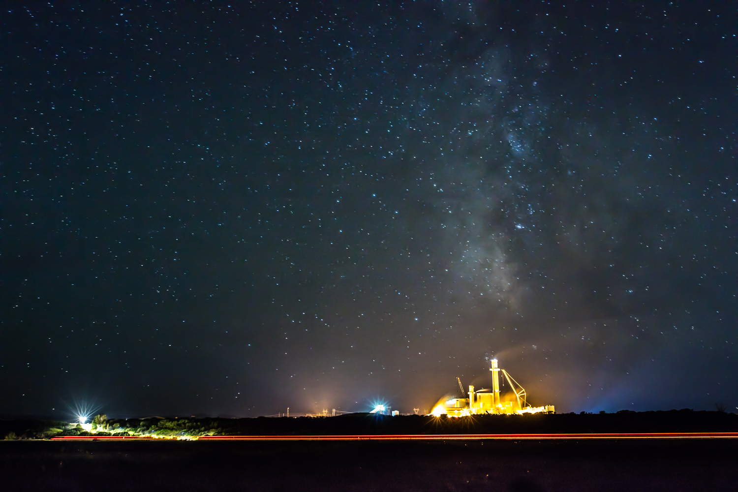 (Hayden Station Coal Plant & Galaxy. View from the Carpenter Ranch south pastures .)