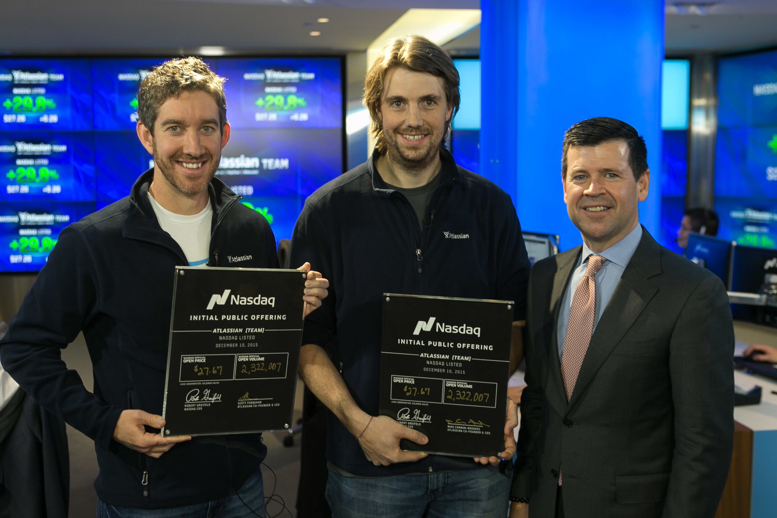 Scott and Mike with two slightly more valuable NASDAQ initial public offering certificates.