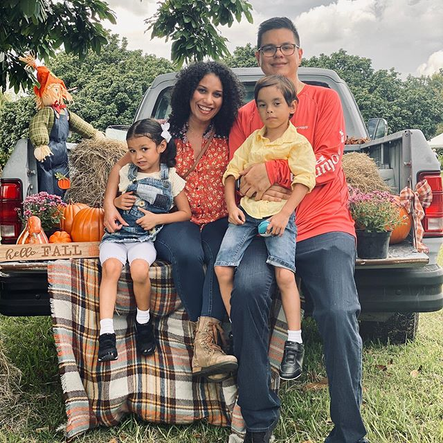 "This weekend I shared our ""misadventures"" of #Fall in #Miami ... We did manage to get a pretty decent pic family pic though, in spite of the heat (and complaining). #miamimoms what are your favorite fall activities? (even though we don't really have Fall here 🤣) #pumpkinpatch #motherhoodunplugged #motheringinmiami #familytime #momlife #305 #ispeakmom"
