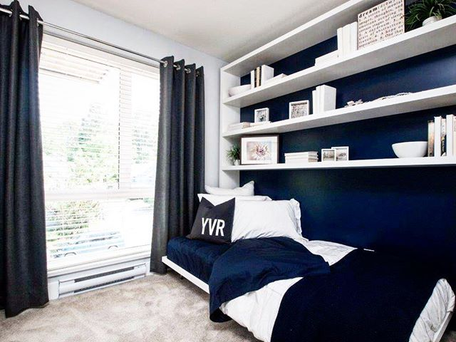 Simple kids bedroom for a display suite. Hope all of you had a great weekend #backatit #inspo #throwback #CDSYVR #bedroom #blue #interiordesign #design #designer #yvr
