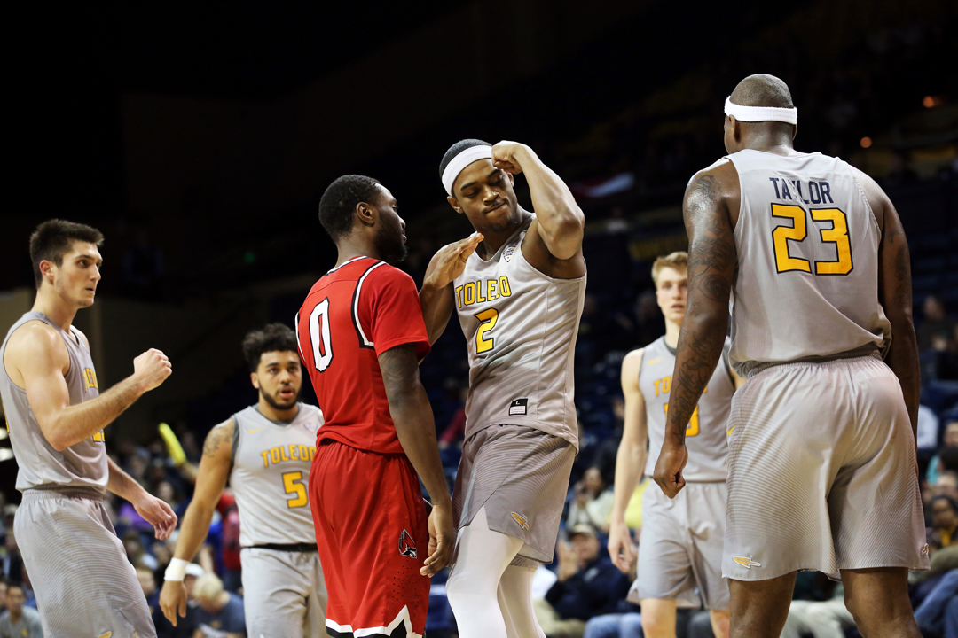 Toledo's Taylor Adway (2) reacts after being fouled but sinking his shot during the second half of the Tuesday, February 28, 2017, men's basketball match up against Ball State at the University of Toledo's Savage Arena. Ball State won, 82-74.