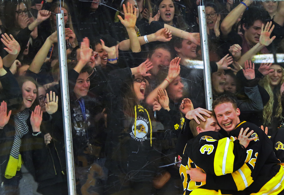Northview's goalie Preston Due (30) embraces his teammate Cody Estrel (12) as their student section goes wild after the team clinched the Saturday, March 1, 2014, district final match up against St. John's Jesuit at Tam-O-Shanter in Sylvania. Though St. John's Jesuit scored two goals early in the first period, Northview came back to win, 4-2.