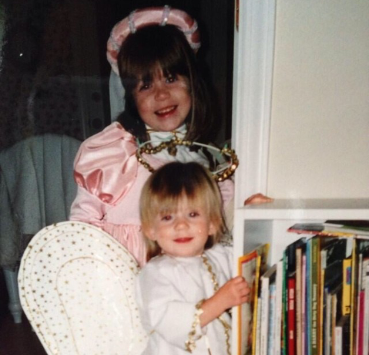 Princess Laura and Angel Julia, circa the early 2000s, wherein we were cute. Not pictured: Saint Mom, creator of all costumes.