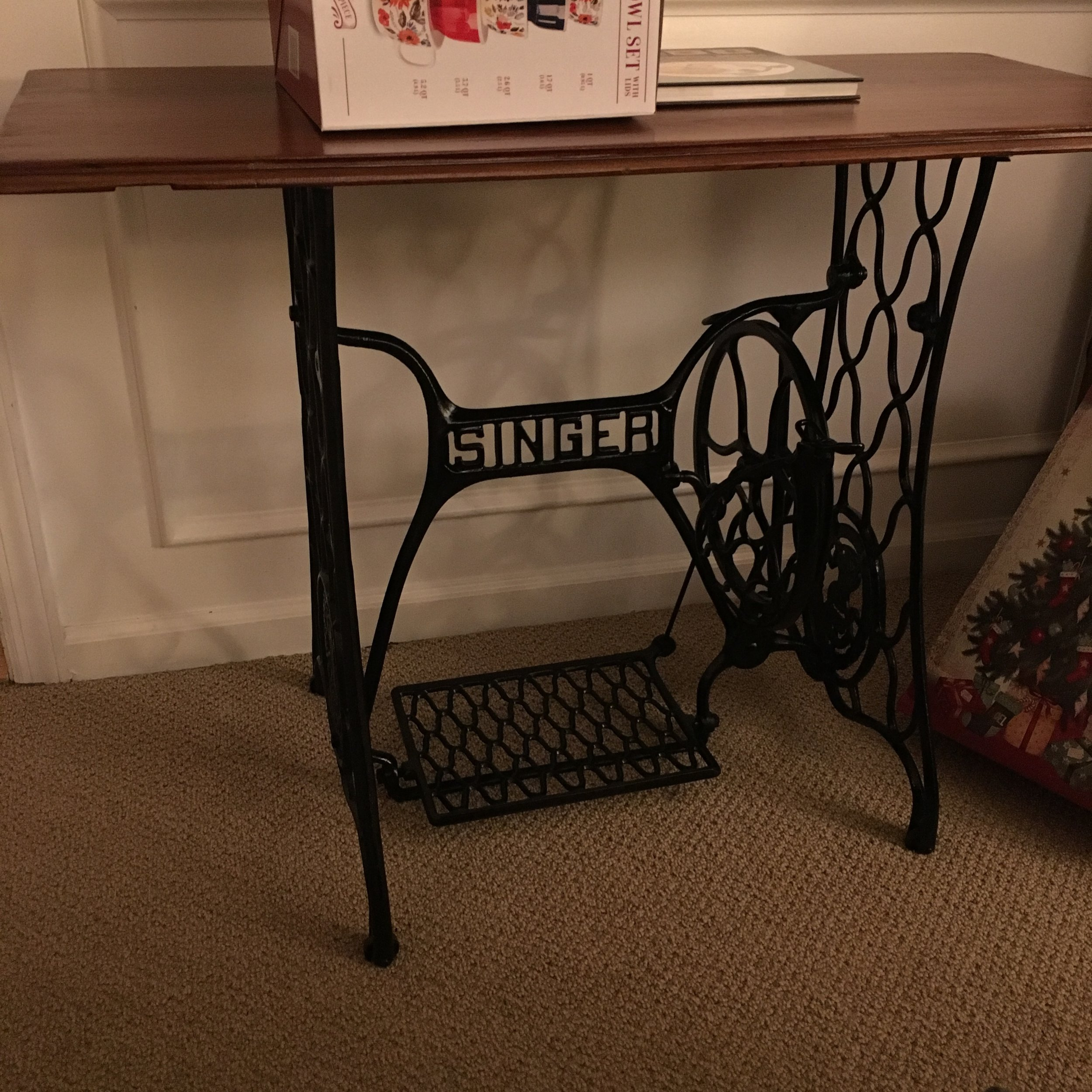 Combining an antique table top and a family heirloom? Smart choice, Dad. Smart. Choice.
