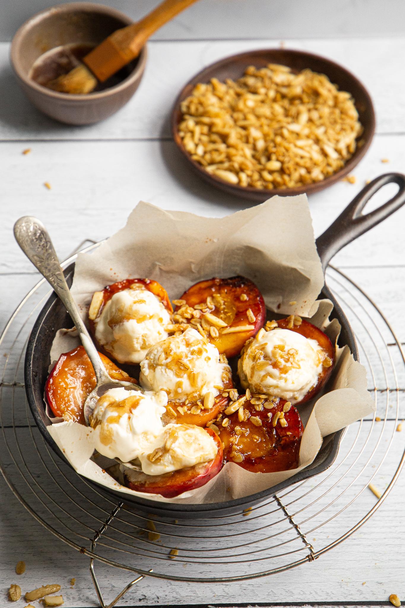 Balsamic and Honey Glazed Peaches - A grown-up, gourmet peach cobbler emerges.