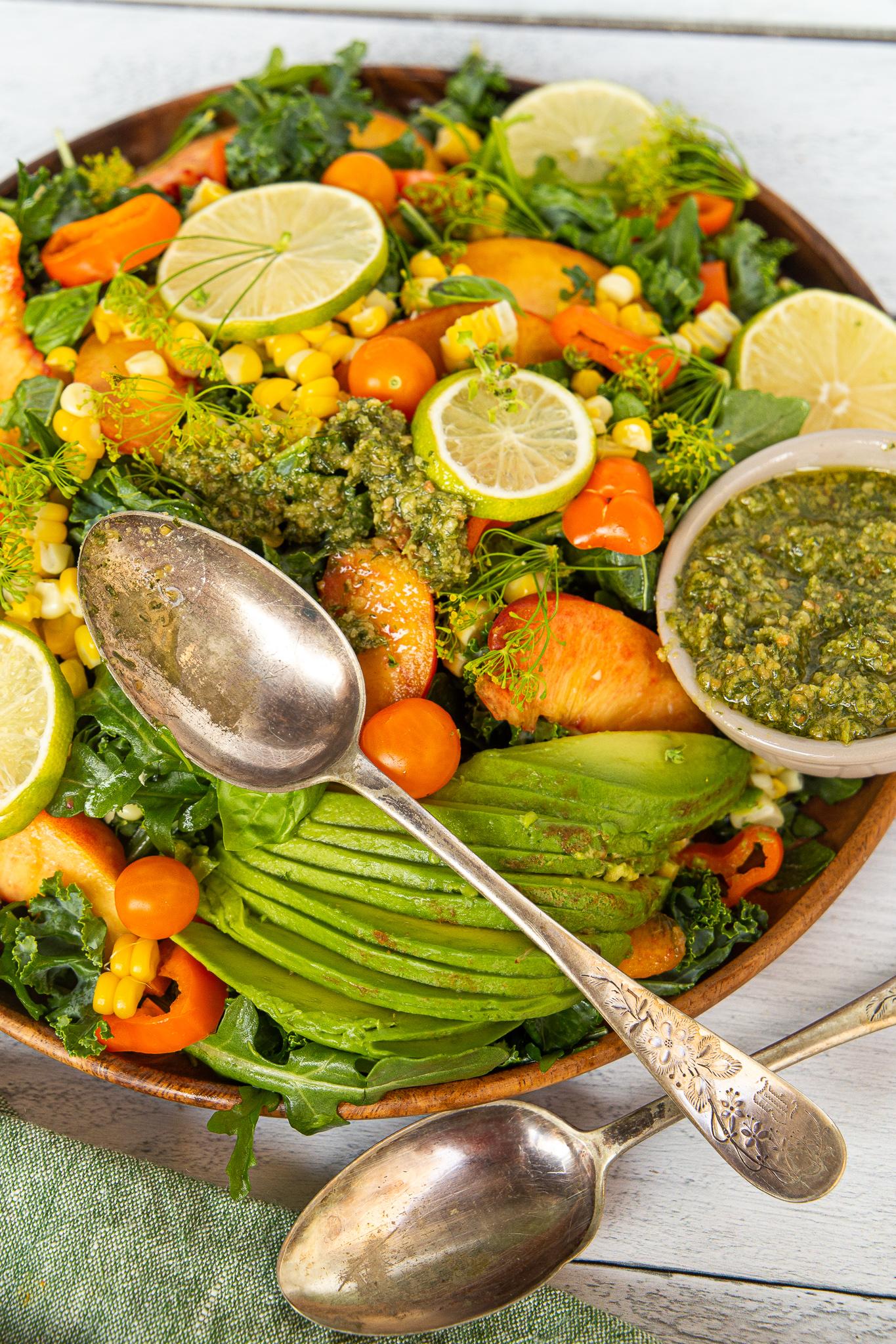 Roasted Corn and Pesto Salad