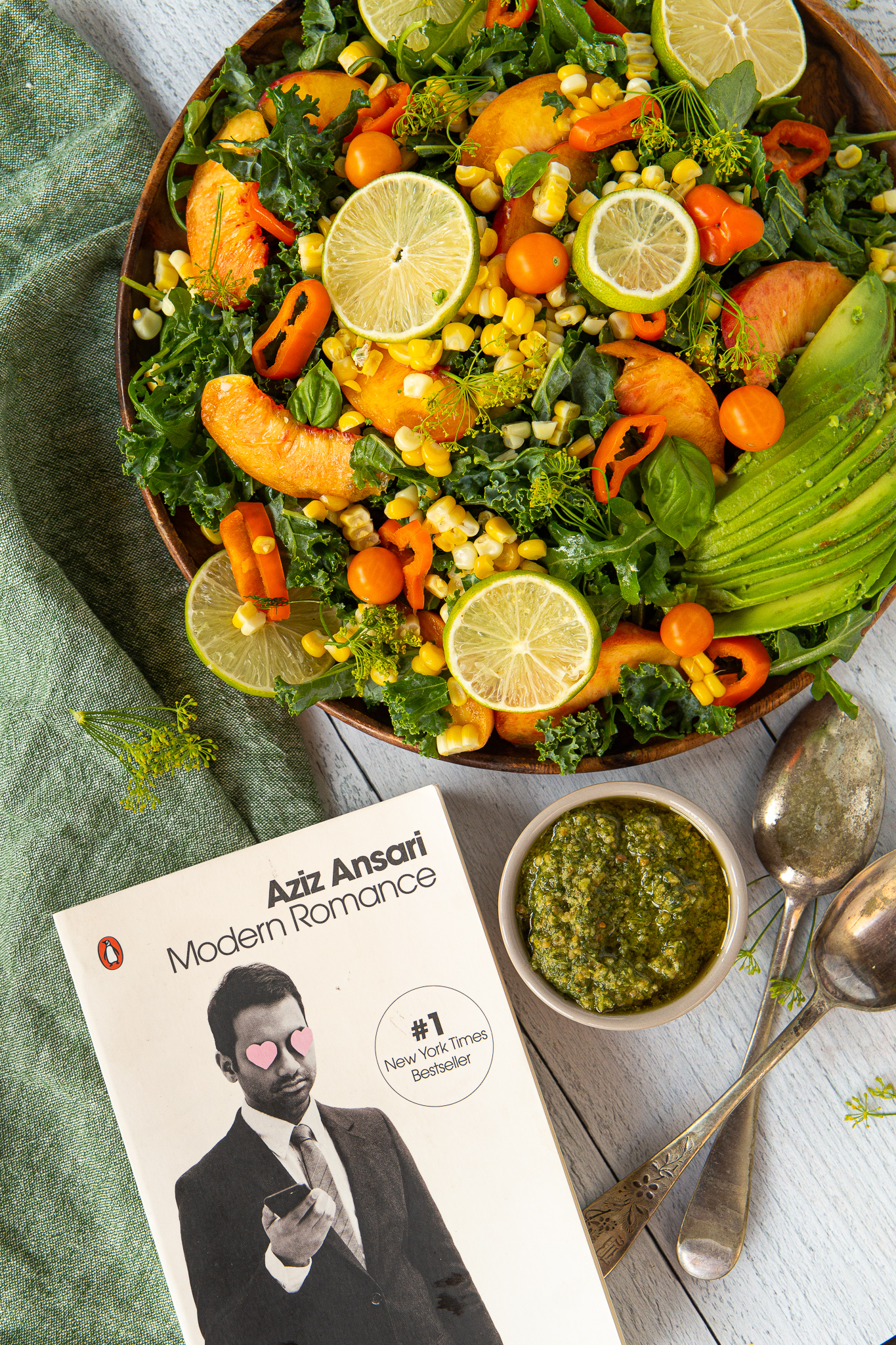 Roasted Corn and Pesto Salad and Modern Romance