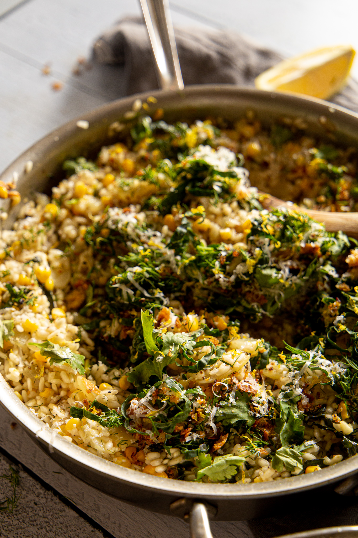 Herby Corn Risotto - Summer sings in a skillet.