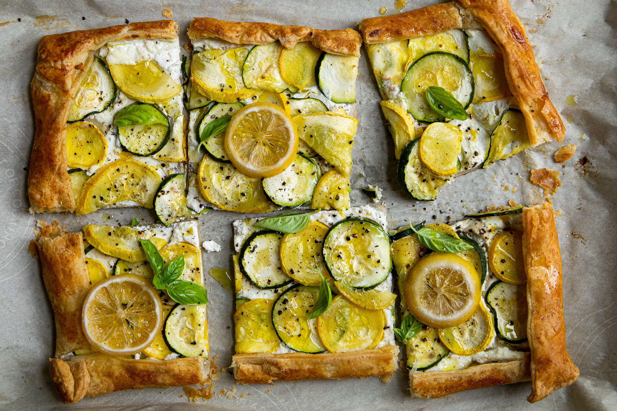 Zucchini Pizza Tart - Best way to use up summer veggies? Eat them in a cheater's pizza.