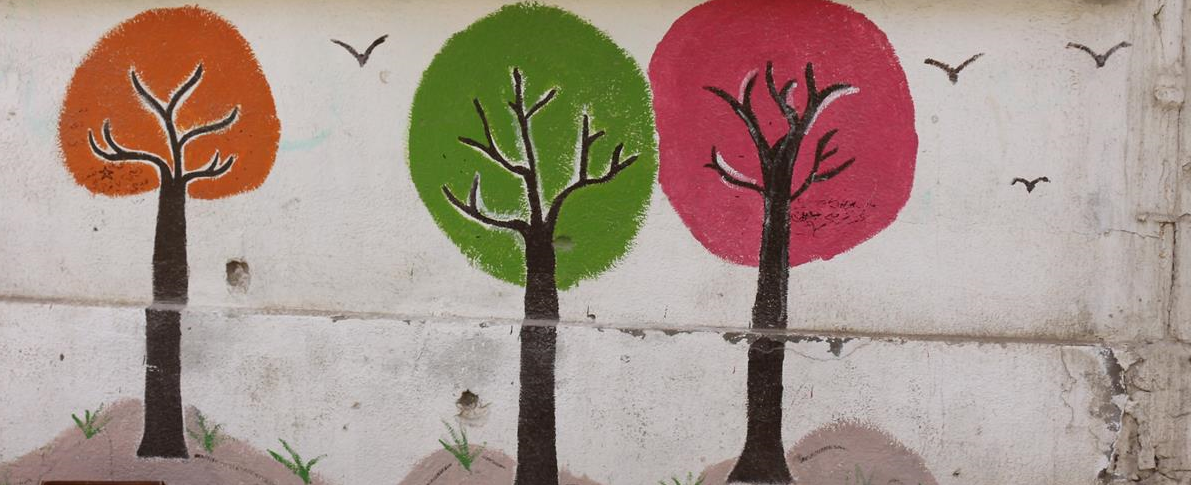 Trees painted on wall.pn