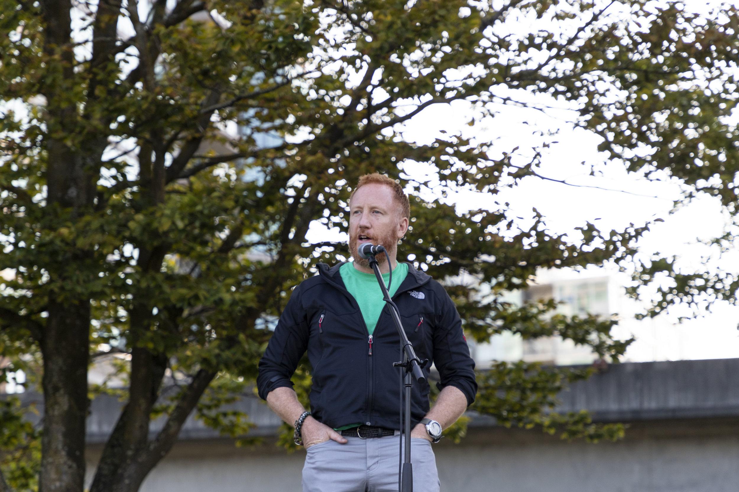CEO Simon delivers a motivational speech.