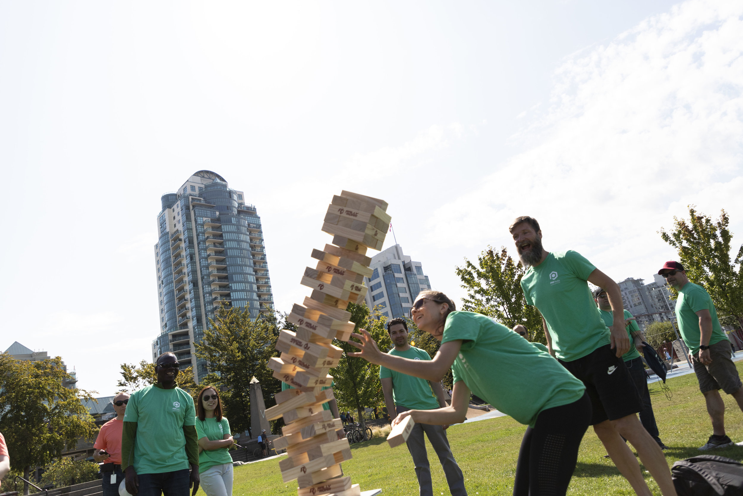 The Green team find out where their tower's tipping point is.