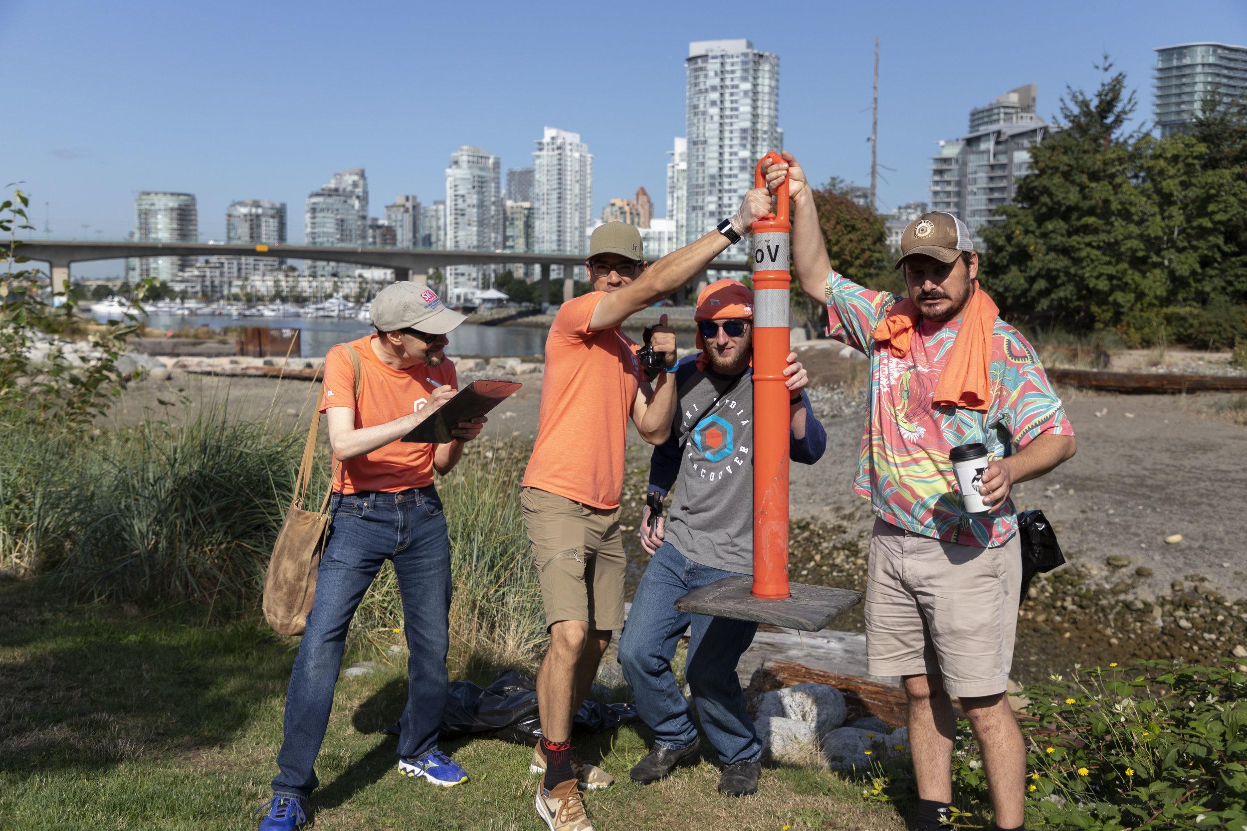 Team Orange show off their finds.