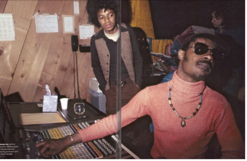 Michael Jackson watching Stevie Wonder create