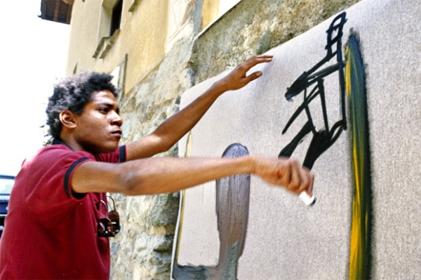Jean-Michel Basquiat creating