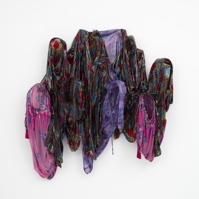 Kevin Beasley,  Unititled (shrink),  2016,  Resin, house dresses, kaftans, wood, 66 × 64 × 20 in