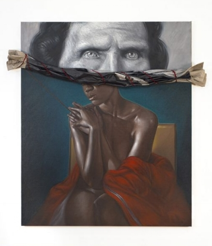 Titus Kaphar,  Behind the Myth of Benevolence , 2014, oil on canvas, 72 x 60 inches